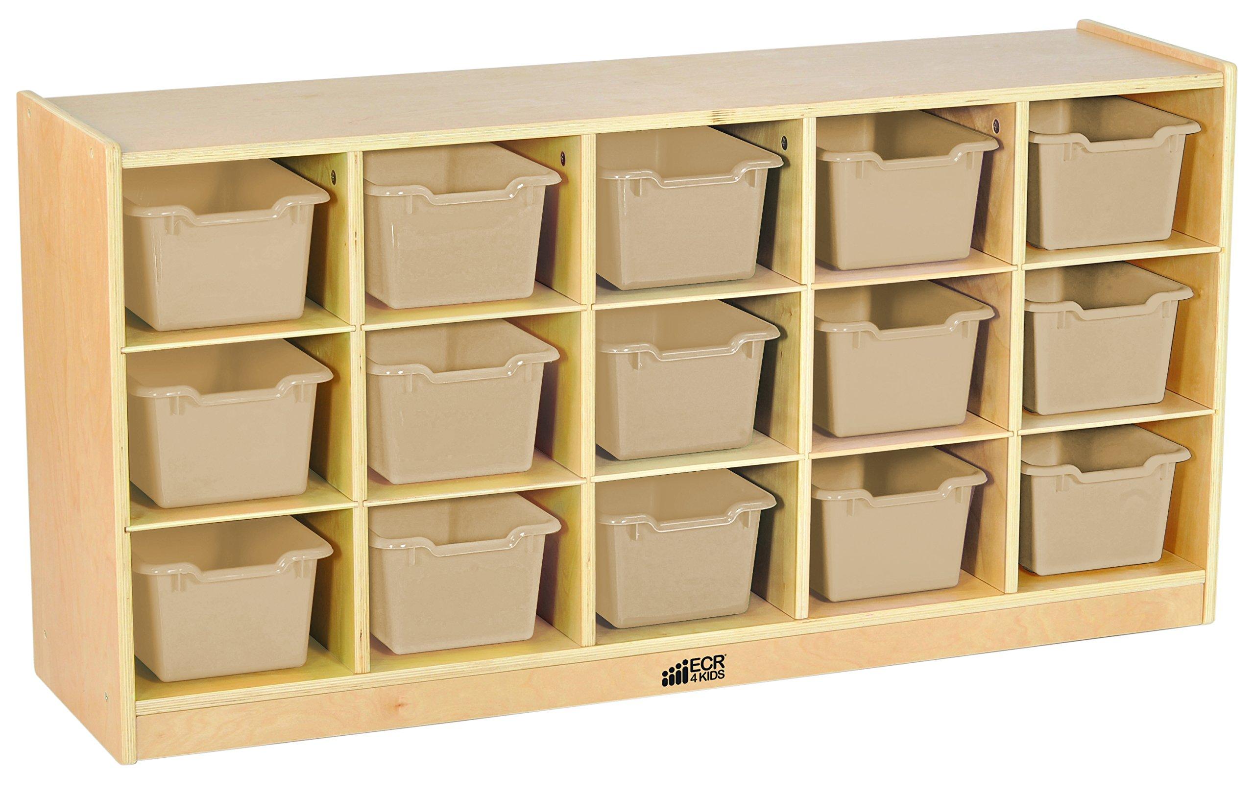 ECR4Kids Birch 15 Cubbie Tray Cabinet with Scoop Front Bins, Sand