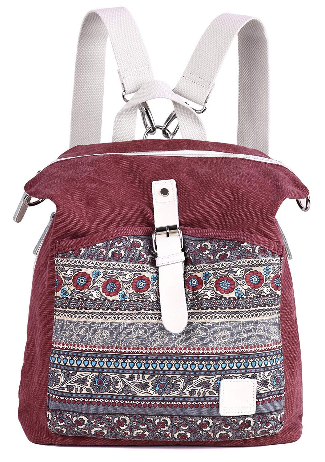 RED Cartoon Backpack Women's Cute Backpack Shoulder Bags Girl Canvas Backpack Daypack (color   RED)