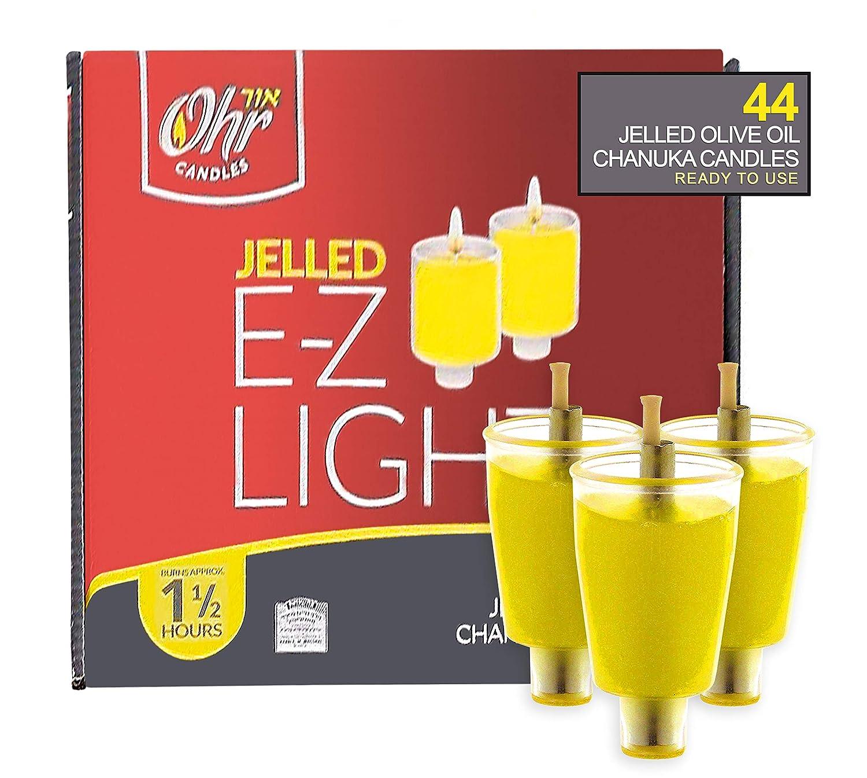 Ohr Candles E-Z Light 44 Jelled Olive Oil Chanukah Candles Jelled Prefilled Olive Oil 1.5 Hour Burntime
