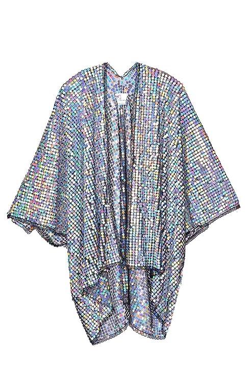 70s Jackets & Hippie Vests, Ponchos The LUMi Shop Hologram Disco Sequin Kimono Polychromatic Festival Fashion Shawl $84.95 AT vintagedancer.com