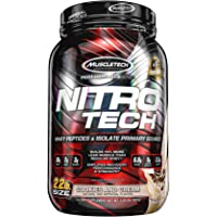 MuscleTech NitroTech Protein Powder Plus Muscle Builder, 100% Whey Protein with Whey Isolate, Cookies and Cream, 2.2 Pounds (22 Servings)