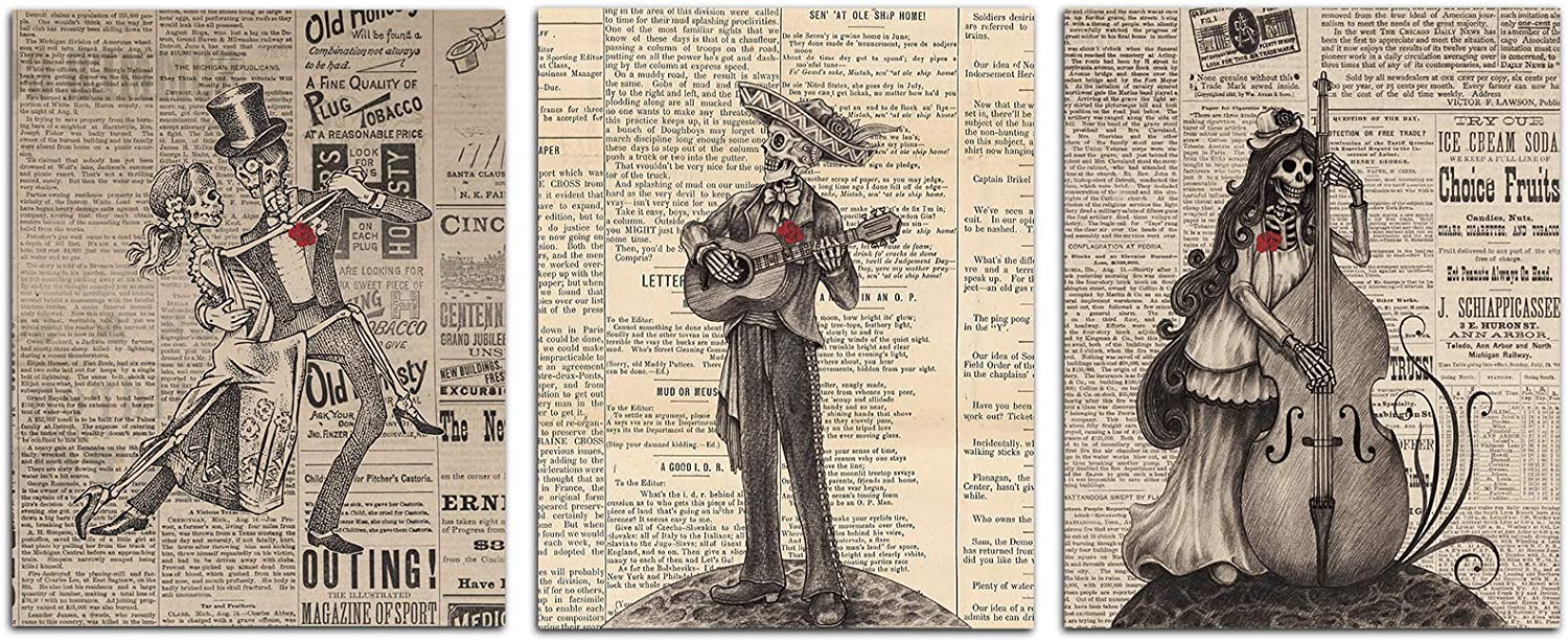 """FaCraft Day of The Dead Skull Dictionary Wall Art,Set of 3 Vintage Mexican Modern Contemporary Art Print Music Poster for Living Room Bedroom Kitchen Office Home Decorations,8""""X10""""-Unframed"""