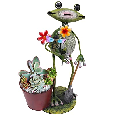 TERESA'S COLLECTIONS 16 inch Frog Garden Statues with Pots, Frog Planter for Outdoor Yard Art Decorations : Garden & Outdoor