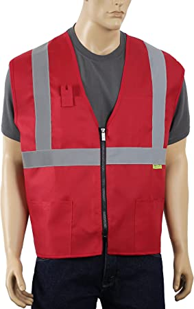 Safety Depot Non Ansi Safety Vest Zipper With Pockets High Visibility Reflective Red A520 2xl Amazon Com