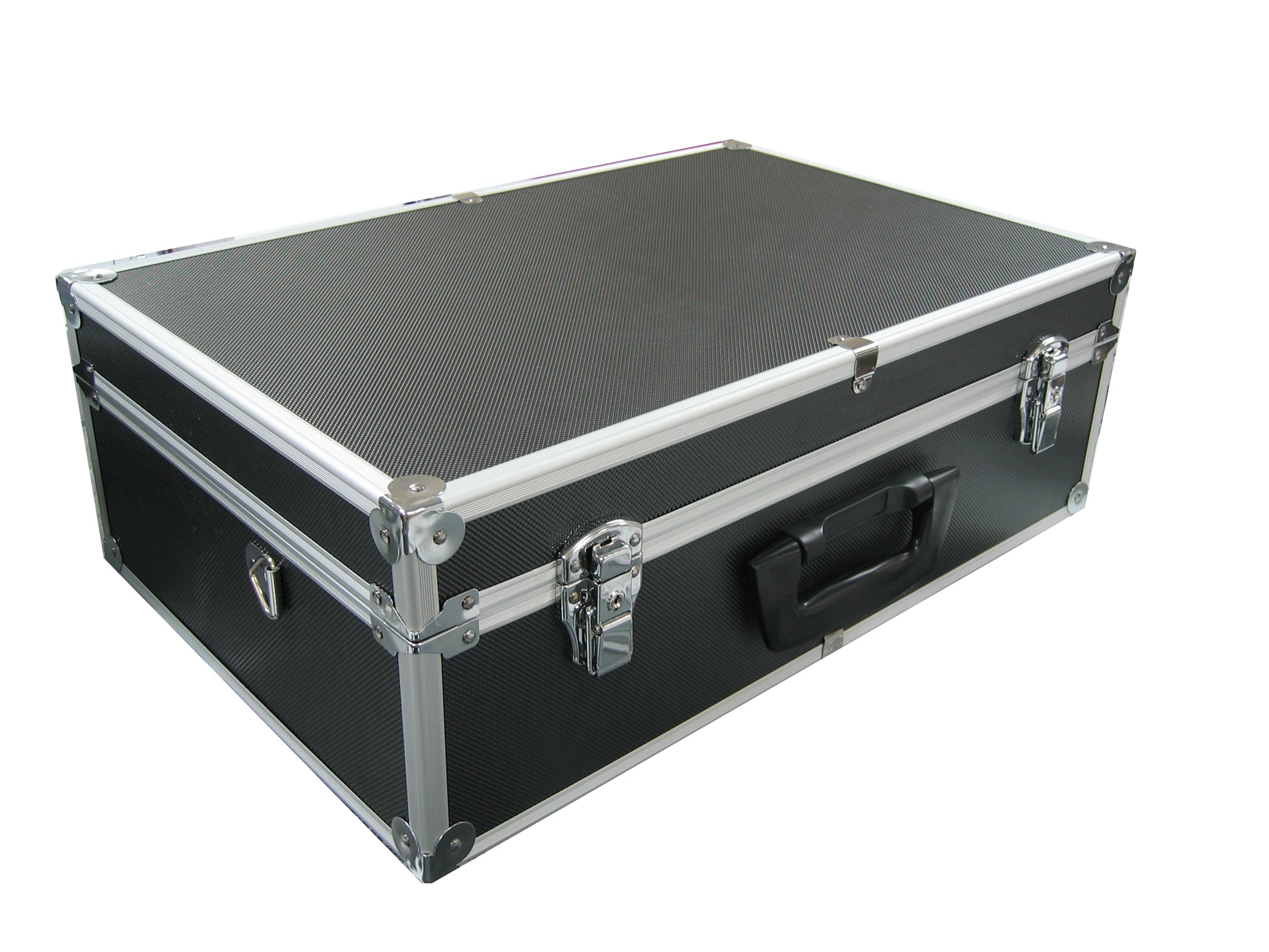 Black Aluminum Multi Purpose Hard Case With Foam For Tool / Camera / Pistool / Hardware and More