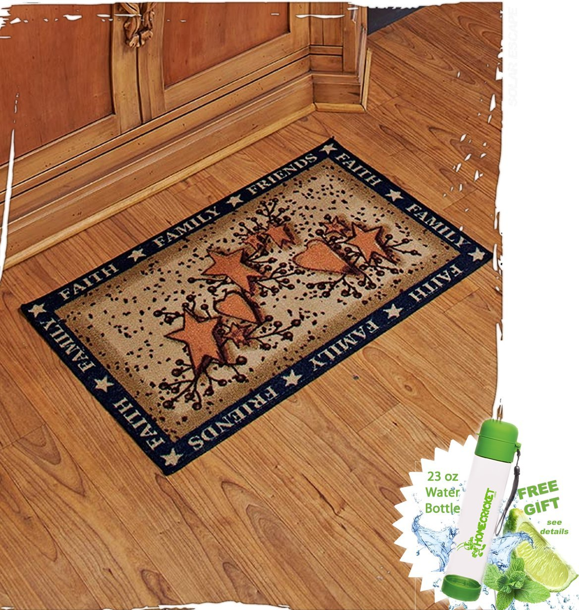 Gift Included- Country Kitchen Hearts and Stars Floor Rug Mat + FREE Bonus 23 oz Water Bottle byHomecricket