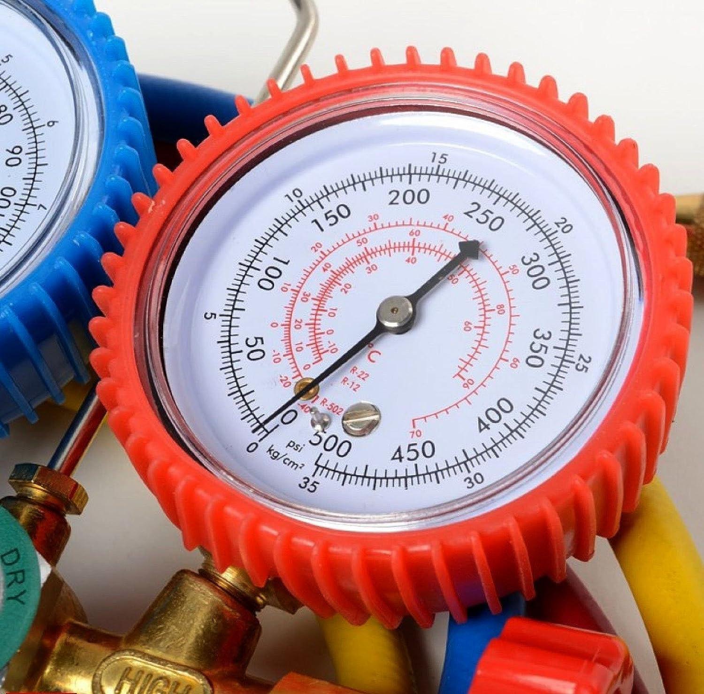 Aozzy Mannigfaltigkeit Manifold Gauge Set Auto Klimaanlage F/ür R134A R12 R22 R502 mit 5FT Schlauch Dual mannigfaltigkeit Gauge Set