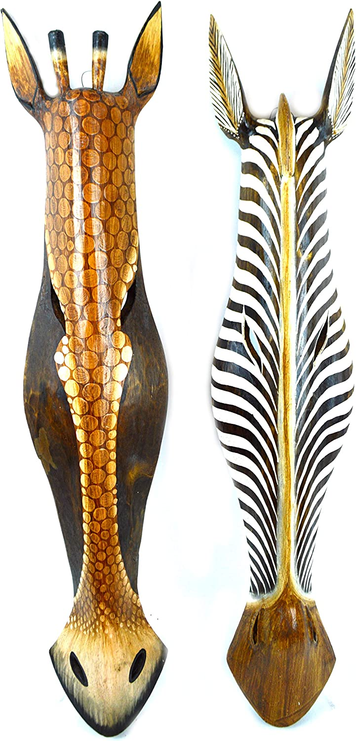 Set of 2 African Zebra and Giraffe Mask Extra Large Jungle Art 32""