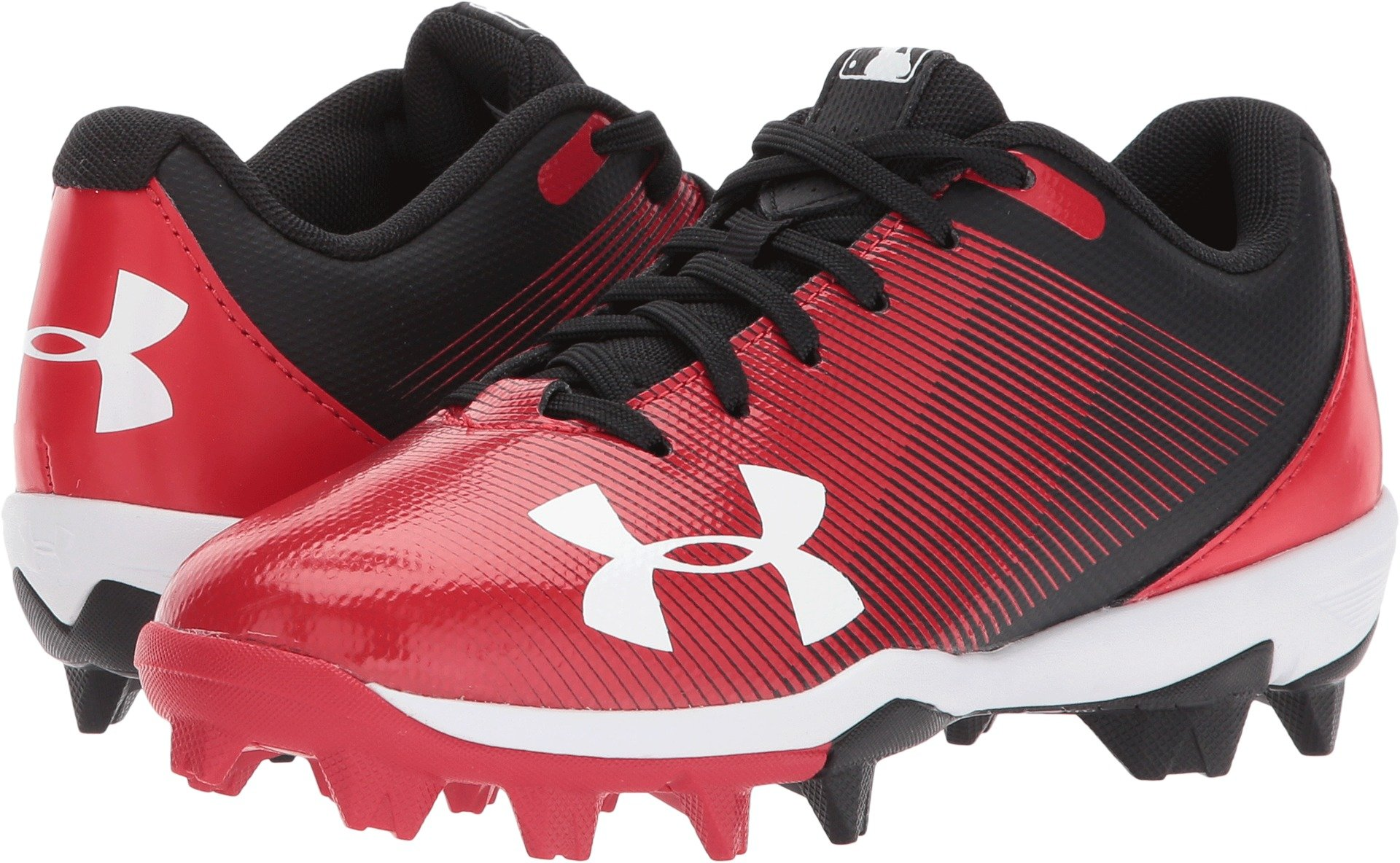 Under Armour Boys Leadoff Low Jr. RM Baseball Shoe, Black (061)/Red, Little Kid 11K US by Under Armour