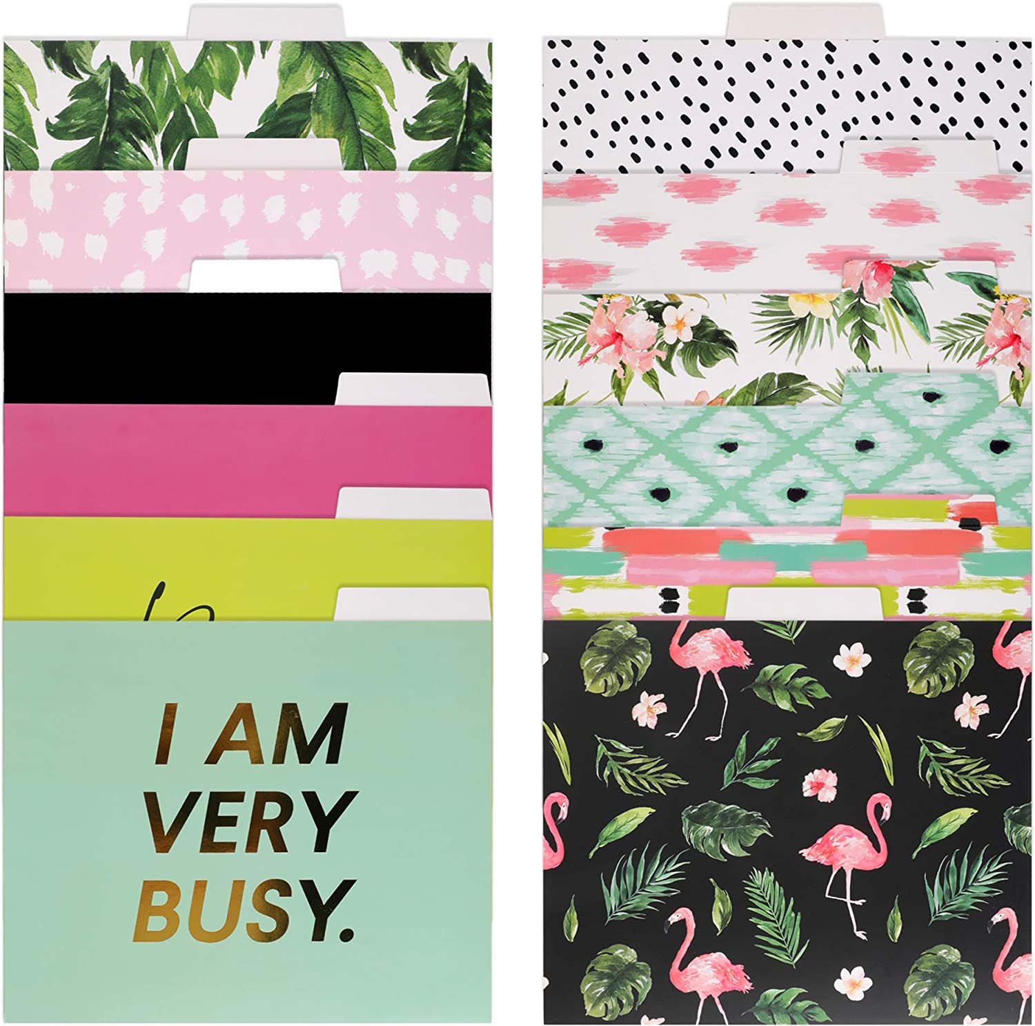 Decorative Gold Foil File Folders - 12 Tropical Colored File Folders Letter Size, 1/3-Cut Tabs, Includes Cute Designs and Gold foil Font, Office Supplies File Filing Organizers, 9 x 11.5 Inches