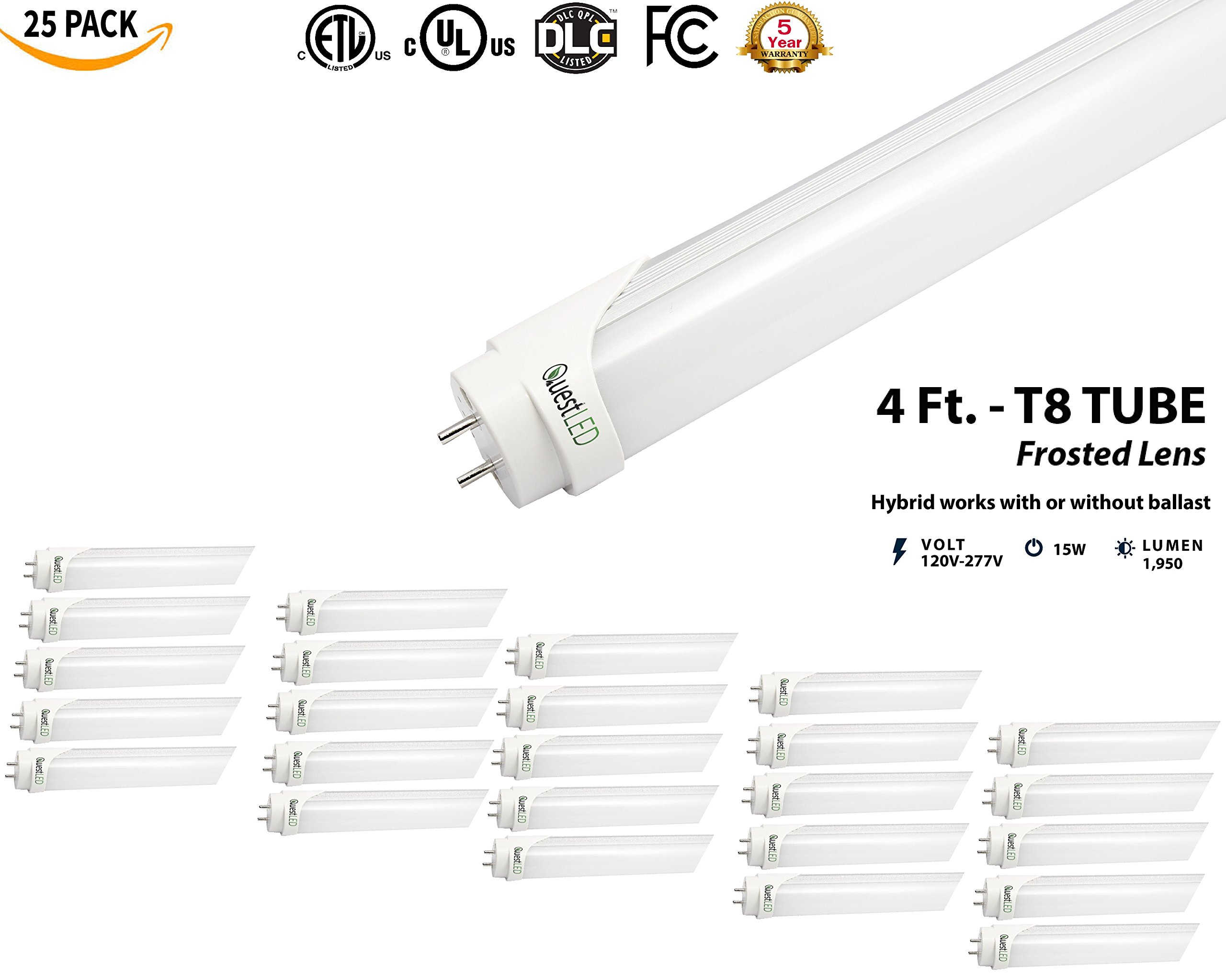 LED T8, T10, T12 Tube Light 4FT; (25 PACK) 15W= 36w Equivalent; 120V-277V AC/DC, Works WITH or WITHOUT Ballast, Single or Double Ended Powered; 1,950 Lumens; UL/DLC (Daylight 5000K) by QUEST MANUFACTURING