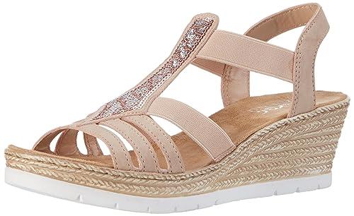 Rieker Damen 61913 Offene Sandalen mit Keilabsatz