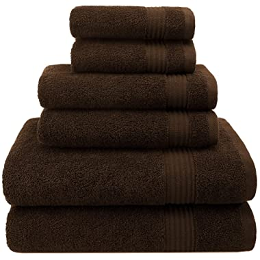Hotel & Spa Quality, Absorbent and Soft Decorative Kitchen and Bathroom Sets, 100% Cotton, 6 Piece Turkish Towel Set, Includes 2 Bath Towels, 2 Hand Towels, 2 Washcloths, Chocolate Brown