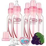 Dr. Brown's Bottles Gift Set - Set de regalo que incluye biberones, chupete, mordedor y tetinas, para niñas, 237 ml (8 oz)