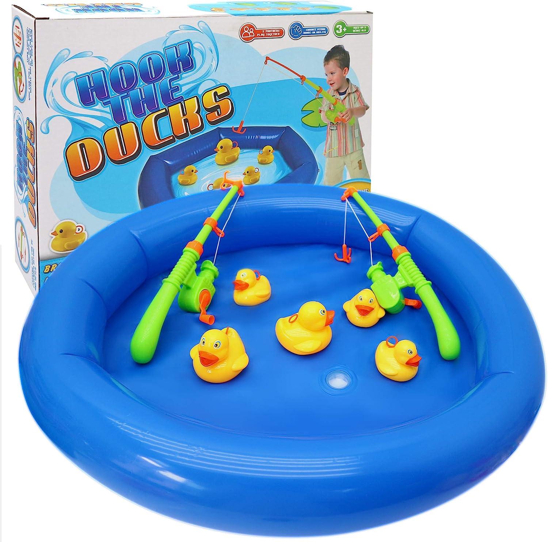 Juego pesca de pato - Incluye 6 pequeños 4 grandes patos, 2 cañas de pescar y 1 piscina inflable - niños fiestas de cumpleaños en el jardín y en el verano -