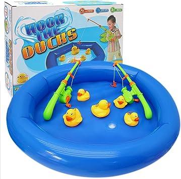 Juego pesca de pato - Incluye 6 pequeños 4 grandes patos, 2 cañas ...