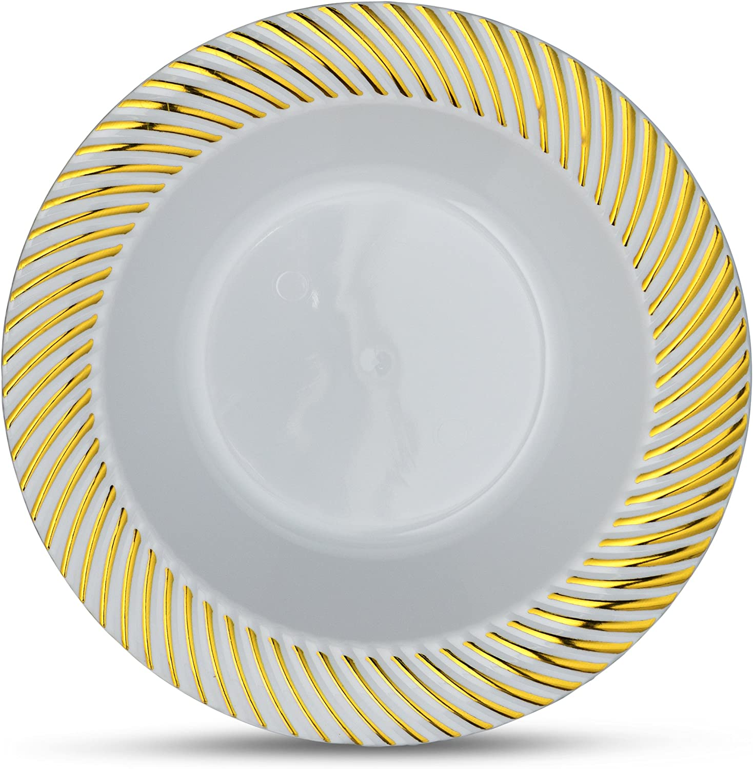 Laura Stein Designer Tableware Premium Heavyweight 5 Ounce White and Gold Rim Plastic Party /& Wedding Soup Bowls Curve Series Disposable Dishes Pack of 10 Dessert Bowls