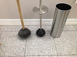 customer reviews oggi satin finish stainless steel 14 5 inch toilet plunger and holder. Black Bedroom Furniture Sets. Home Design Ideas