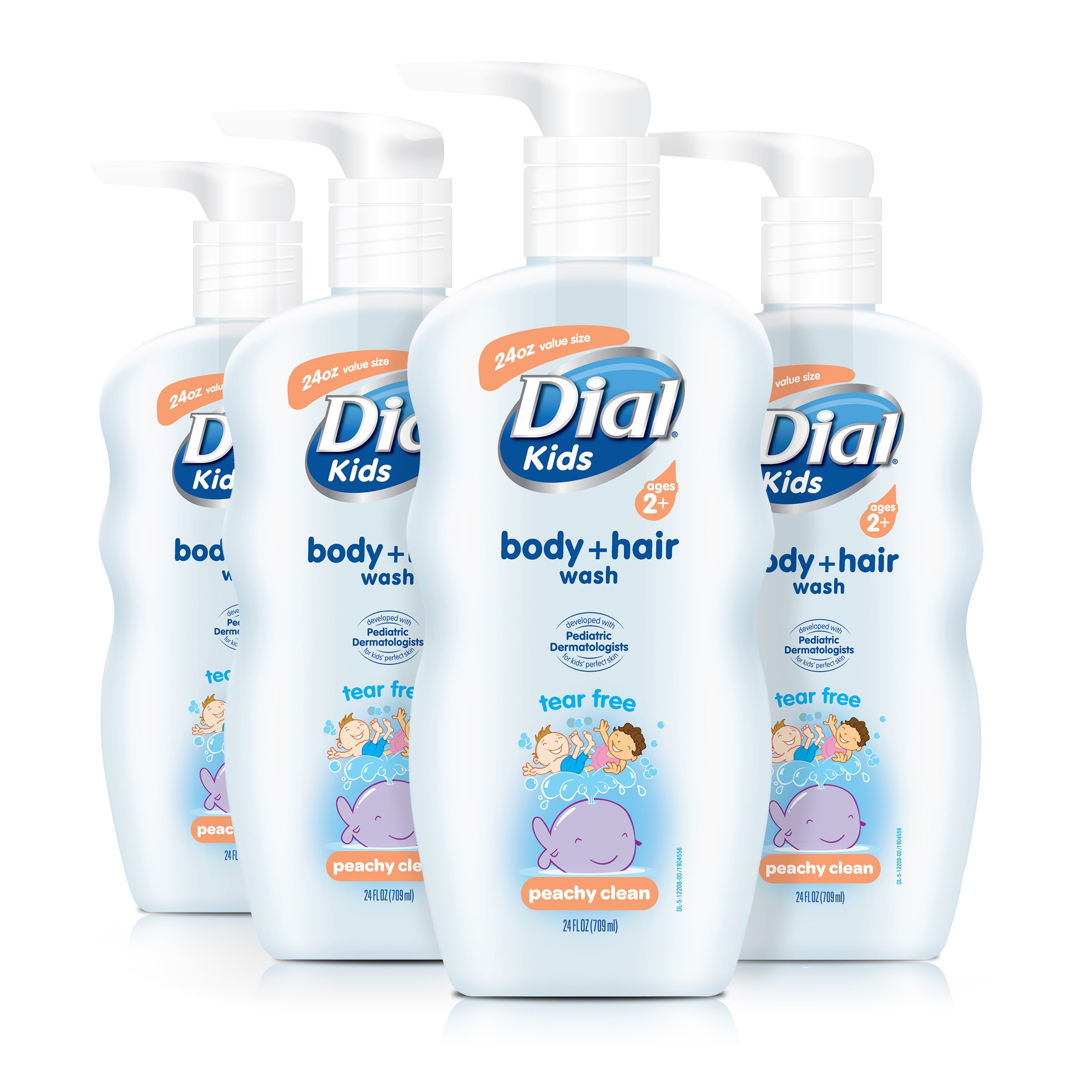 Dial Kids Body + Hair Wash, Peachy Clean, 24 Ounce (Pack of 4) by Dial