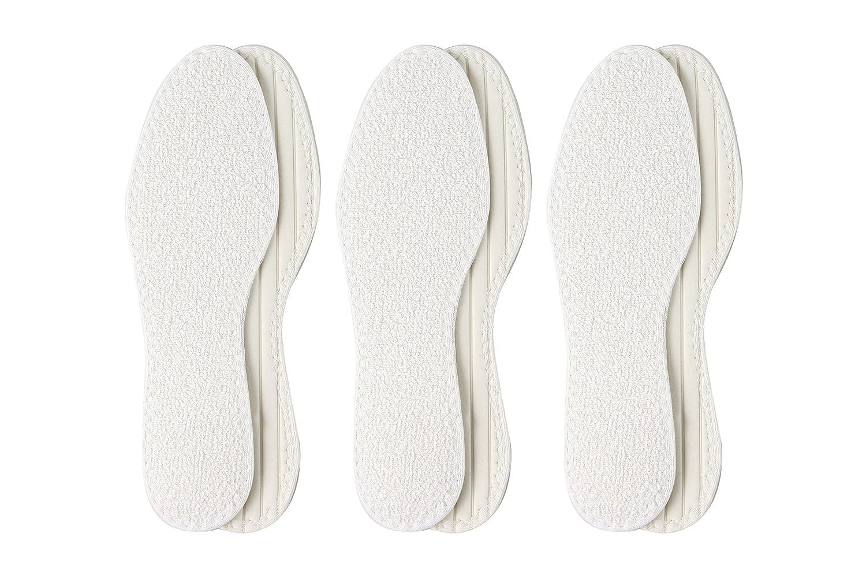 Berckland 3er-Pack waschbare Barfußsohlen aus 100% Baumwolle mit Latexdämpfung –Made in Germany- Komfortsohle-Frotteesohle- Sommereinlage in Gr. 36-47