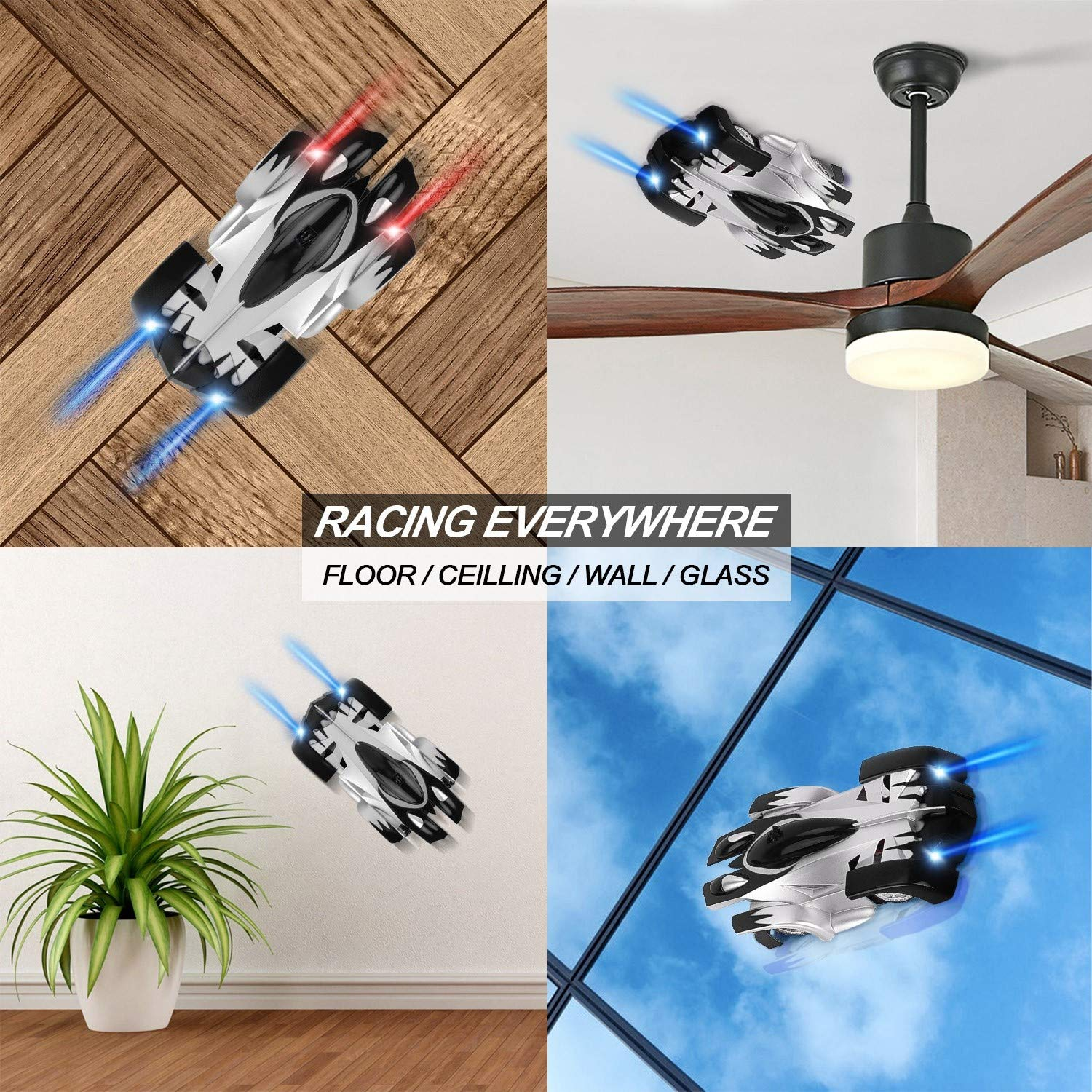 Wall Climbing Car Rc Toys Gravity Defying Race Cars For Boys Usb Rechargeable Climbs Walls Ceilings Panels Glass Tradeone Remote Control Car Black Vehiculos De Molde Fundido Juguetes Y Juegos