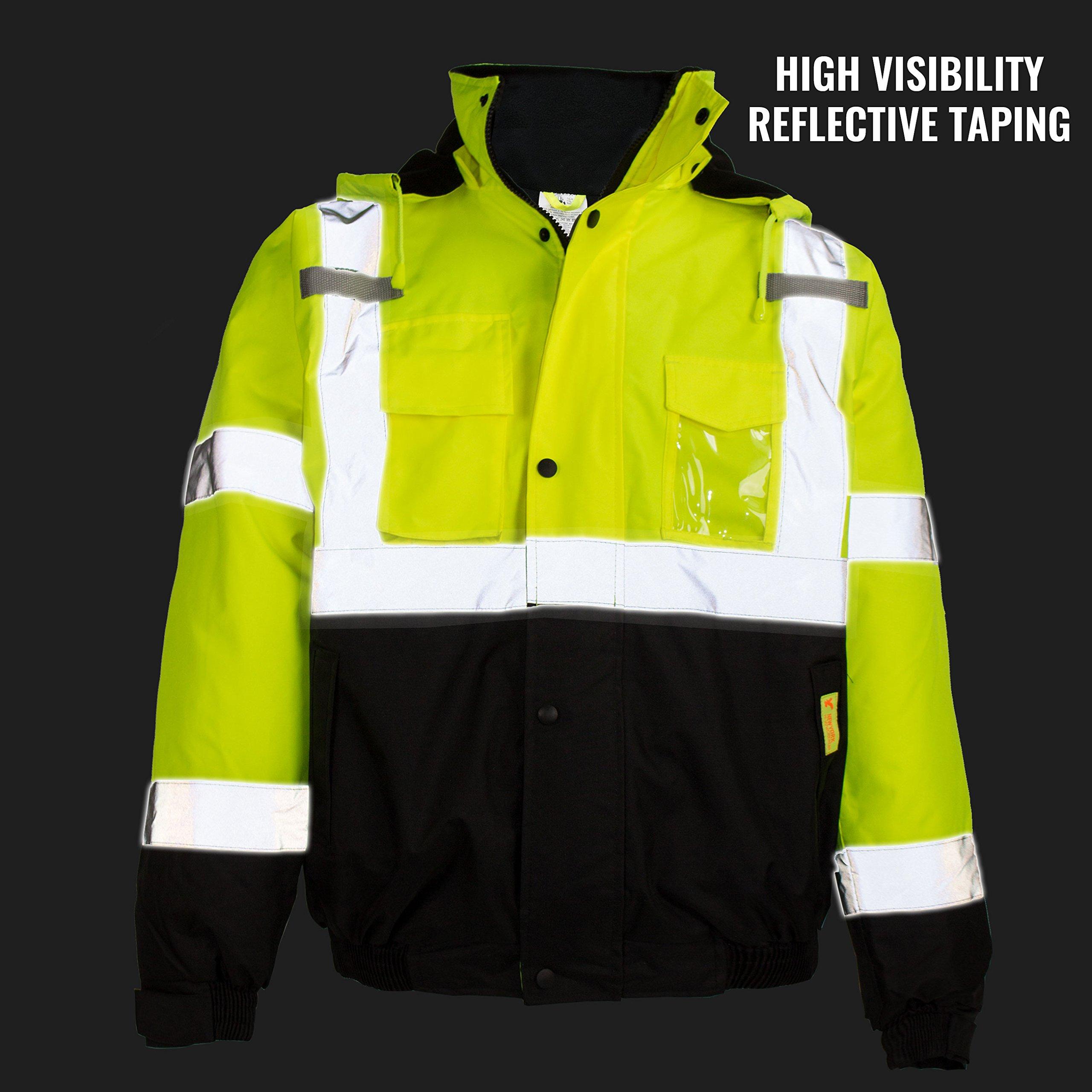 New York Hi-Viz Workwear WJ9012-L Men's ANSI Class 3 High Visibility Bomber Safety Jacket, Waterproof (Large, Lime) by New York Hi-Viz Workwear (Image #7)