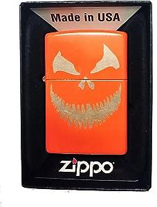 Zippo Custom Lighter - Scary Halloween Jack O Lantern Evil Smile Pumpkin Face - Regular Neon Orange - Gifts for Him, for Her, for Boys, for Girls, for Husband, for Wife, for Them, for Men, for Women