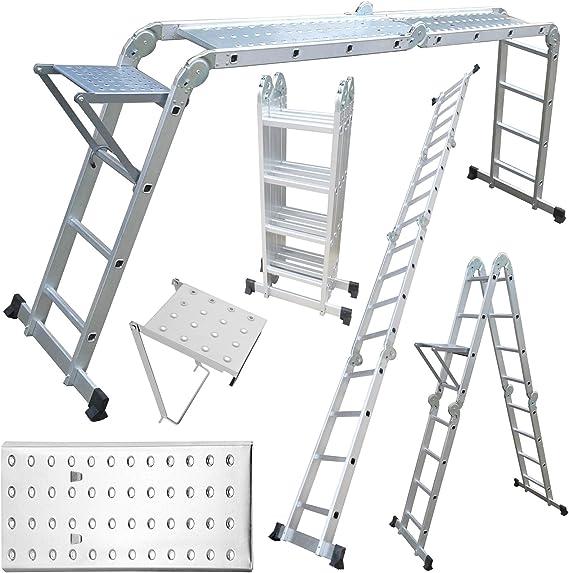Telescópica Safekom 4,7 m multifunción de aluminio DIY extensión peldaño de escalera andamio plegable bandeja + plataformas de paso: Amazon.es: Bricolaje y herramientas