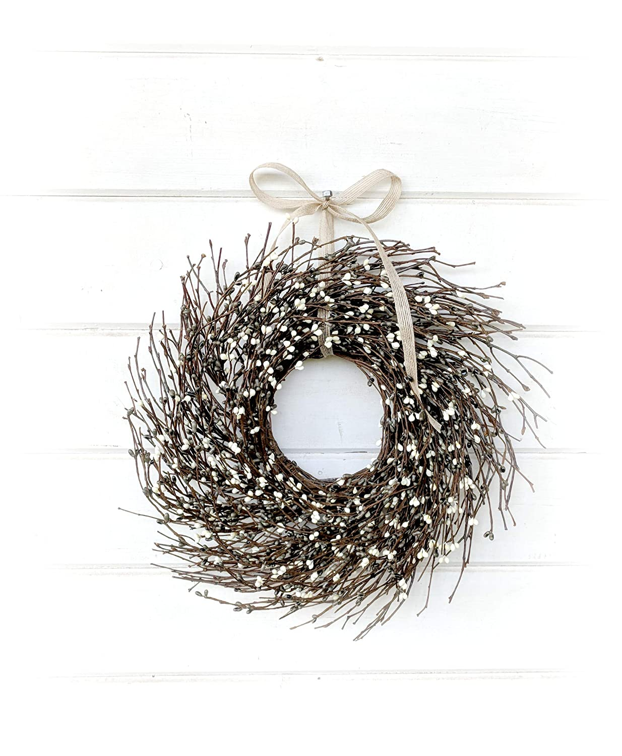 Mini Wreath-Window Wreath-Spring Wreath-Summer Wreath-Gray& Cream Wreath-Twig Wreath, Farmhouse Wreath, Farmhouse Decor, Gift, Door Wreath, Housewarming Gift, Coastal Beach Decor