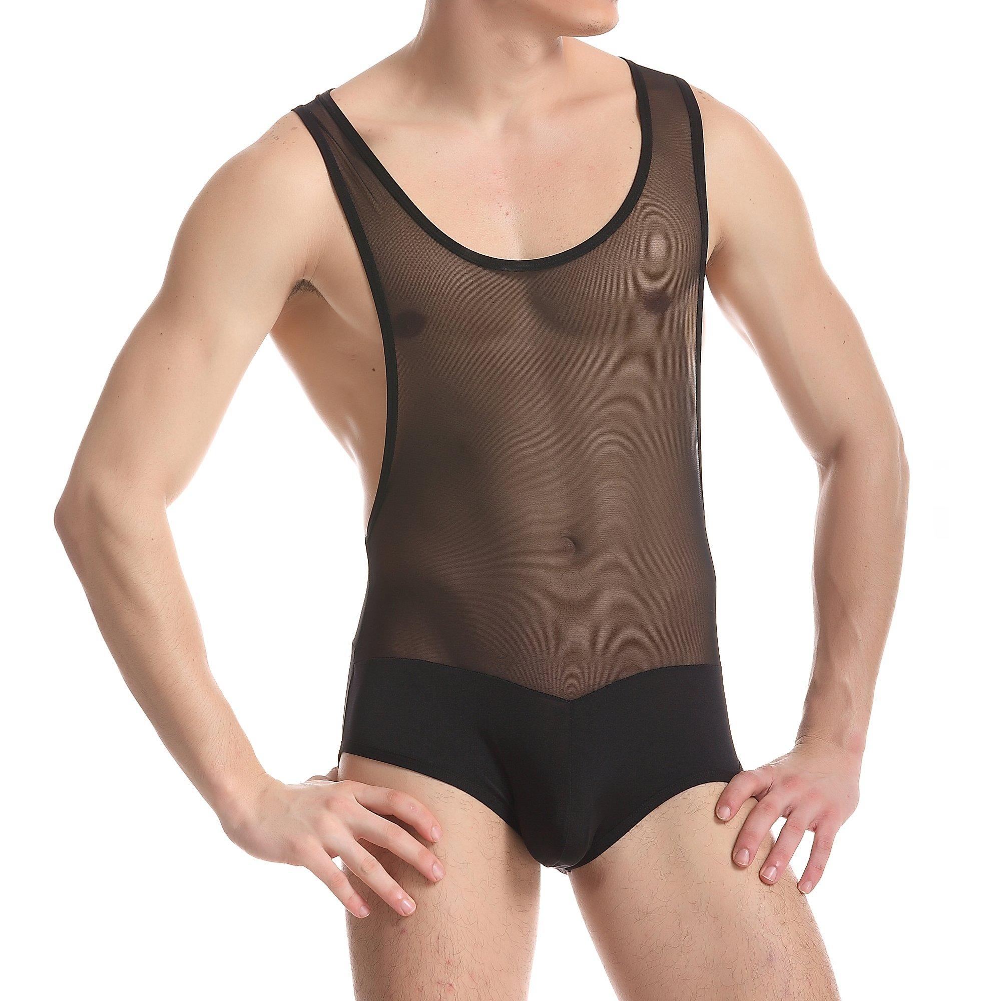ONEFIT Men's Mesh Jockstrap Bodysuit Leotard Wrestling Singlet Bikini Briefs L by ONEFIT