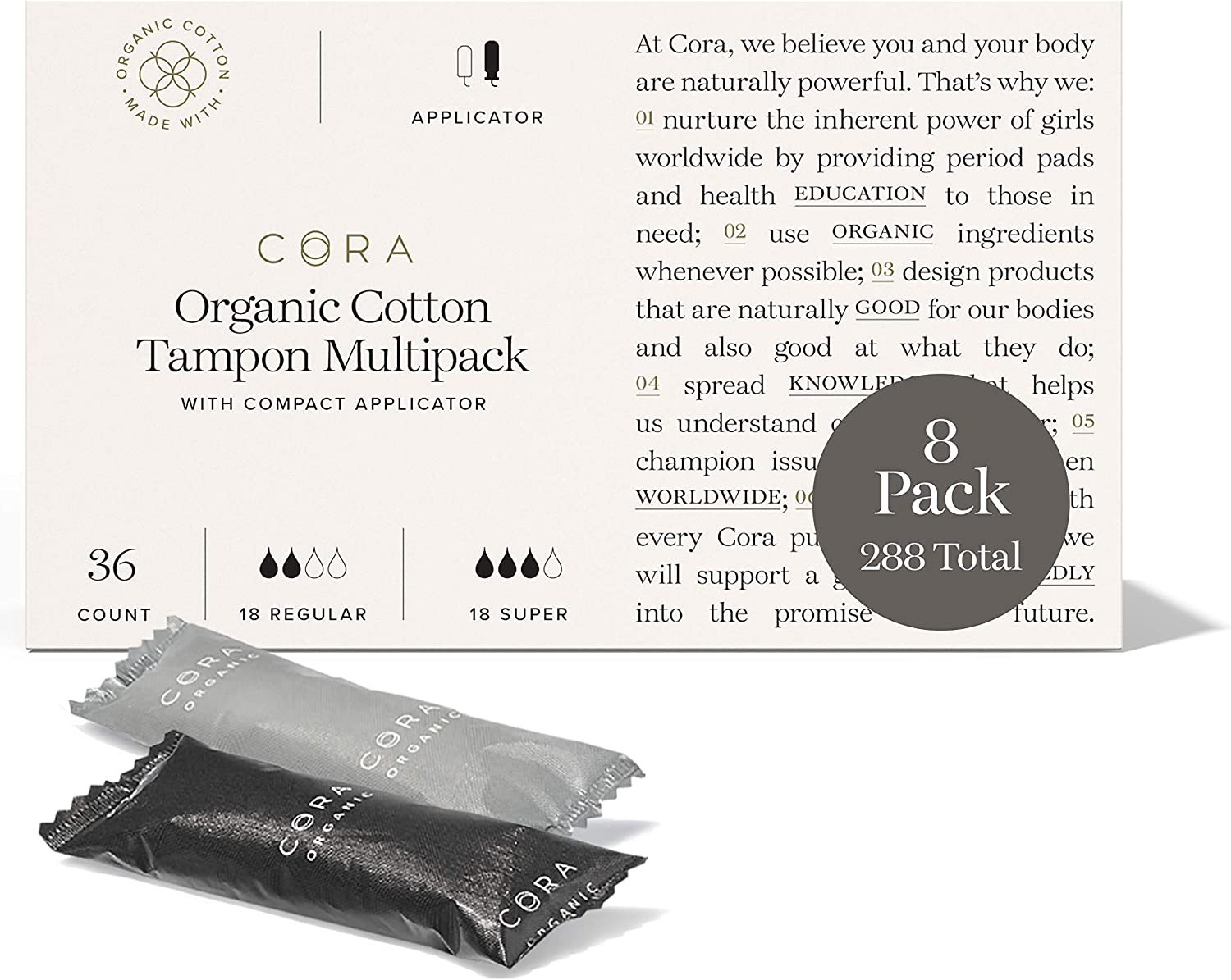 Cora Organic Cotton Tampons with BPA-Free Plastic Compact Applicator; Chlorine & Toxin Free - Variety Pack - Regular/Super (288)