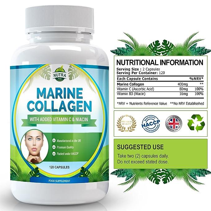 Complejo de Colágeno Marino, suplemento antiarrugas de alta concentración con niacina y vitamina C. Para mayor elasticidad y aspecto rejuvenecido en pieles ...