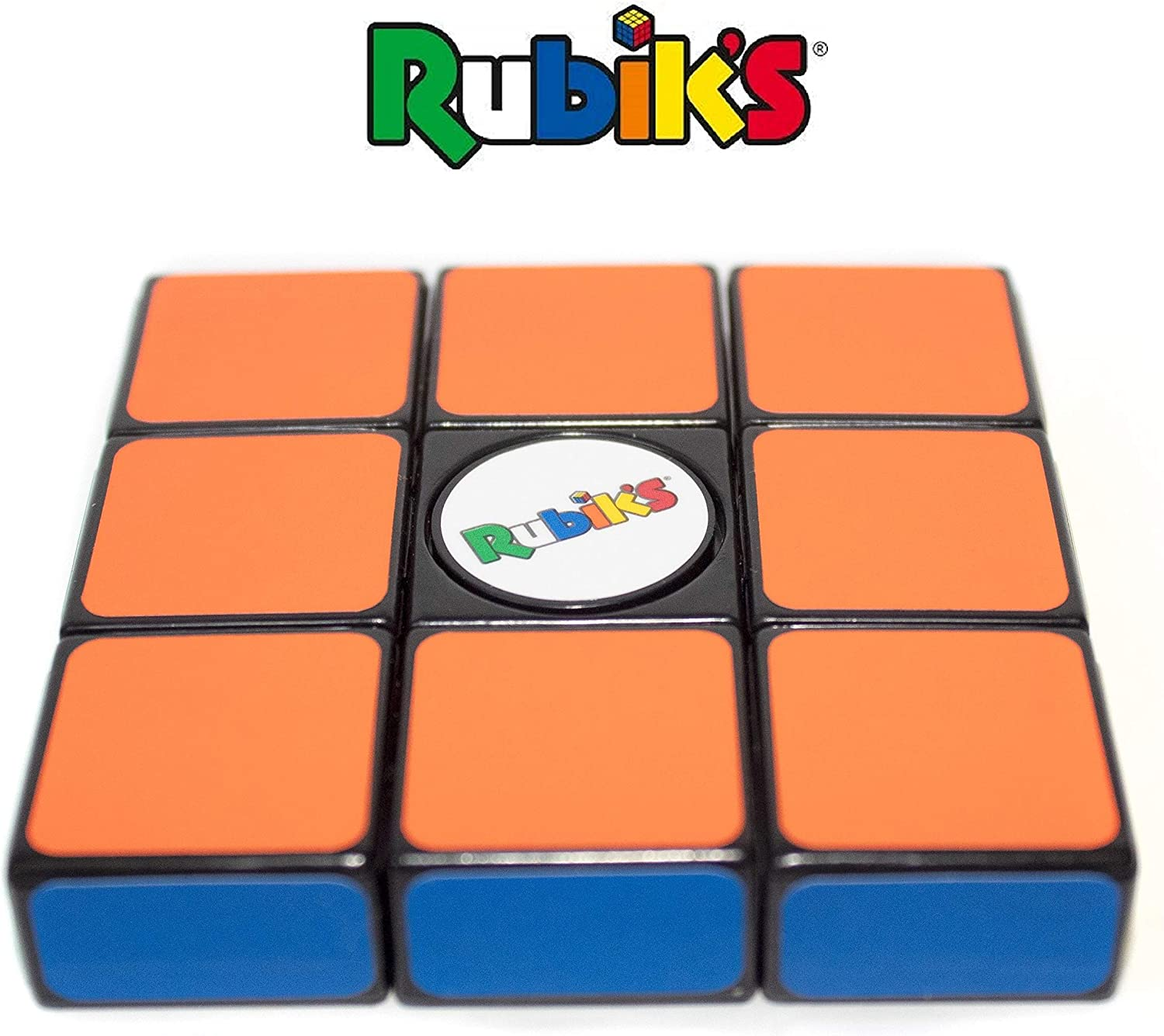 Rubik's Spin Block;Pocket-Size Fidget Spinner Cube,Twist & Turn Into Different Shapes,Fun to Hold,Easy to Spin,Easy to Solve,Great for Adults&+4 Kid,Fidgety Hands & ADHD (Orange)
