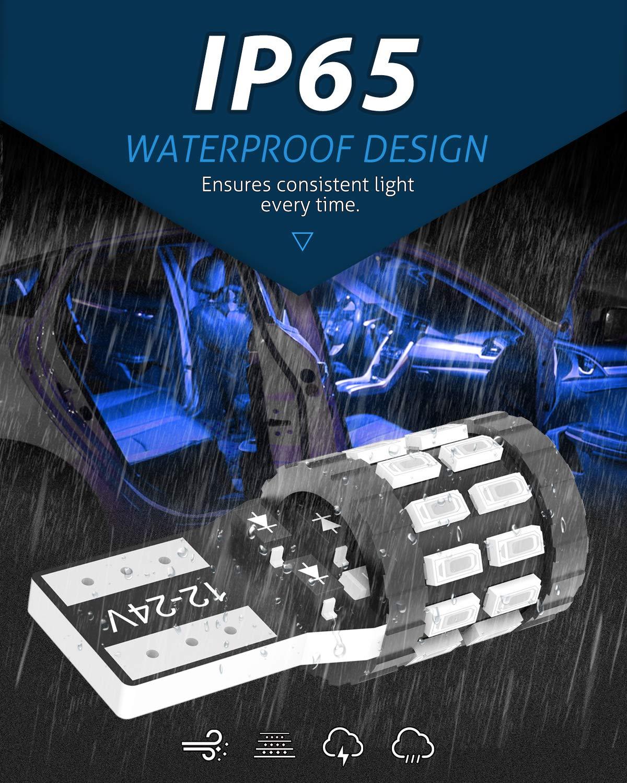 KATUR T10 W5W LED 194 168 2825 Lampadina Cuneo LED CANBUS Senza errori Super Luminoso Rosso Brillante 30x3014SMD 12-24V per Luci Car Dome Map Door Luce di cortesia per Targa Versione aggiornata