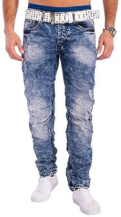 Herren Jeans Hose Destroyed Used Acid Washed, Farben Dunkelblau, Größe Jeans  W29 7840cb583b