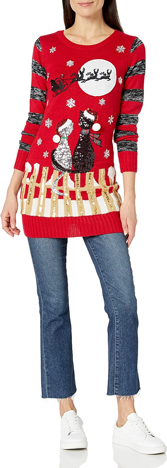 Blizzard Bay Women's long Ugly Christmas Cat Sweater Ugly Cat Sweater for the Holidays