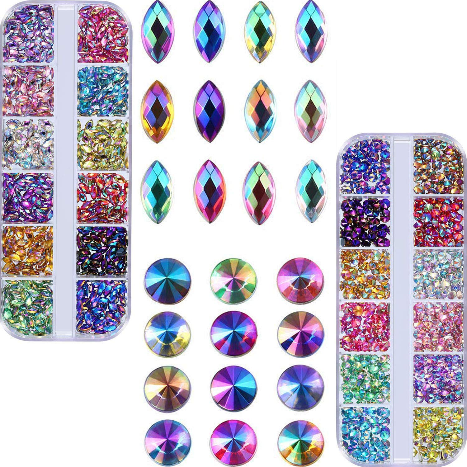 2cc30edcbd Bememo Shiny AB Nail Rhinestones Gem Stones for Nail Art Decorations  Supplies Crafts Clothes (1200 Flat...
