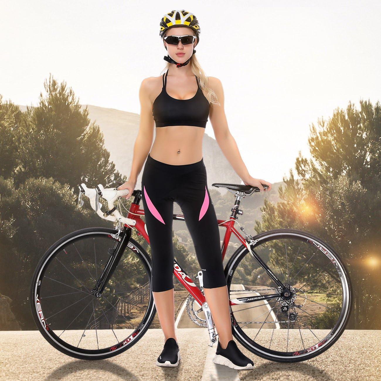 Ao dai Santic Pantaloni Ciclismo Donna Imbottiti Pantaloni Ciclista Donna Pantaloni Bicicletta Imbottiti 3//4 per Donna