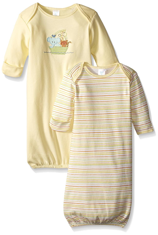 Spasilk Baby 2 Pack 100 Percent Cotton Gown, Yellow Ark, 0-3 months GO ARK