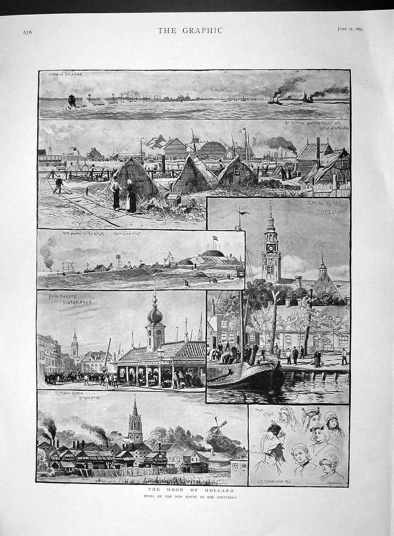 Amazon.com: old-print Print 1893 Hook Holland Fish Market Groote Kerck  Schiedam: Prints: Posters & Prints