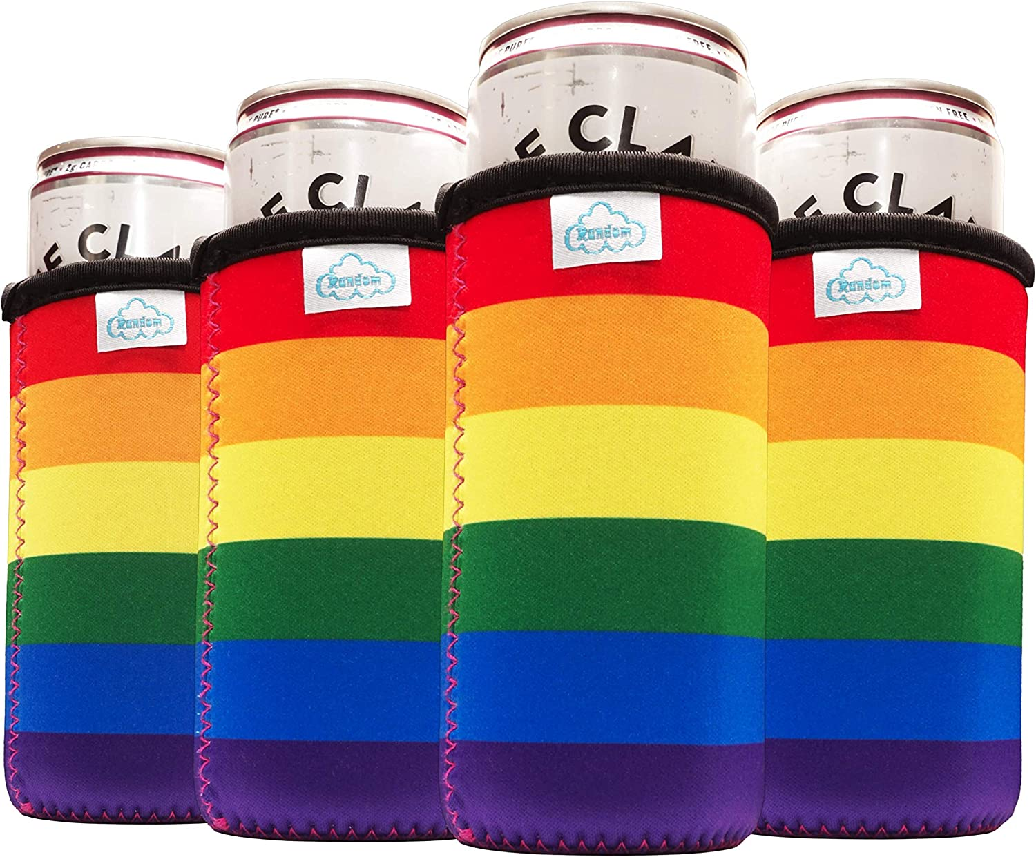 CloudRandom Pride Slim Can Cooler Sleeves (4 pack) for White Claw for 12oz Skinny Can Coolers - Neoprene (Eco-Friendly) Material