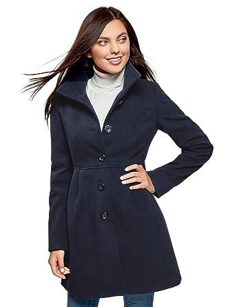 Damen Taillierter Ultra Mantel De Eu Blau Mit Knöpfen Oodji 42 qE5fE