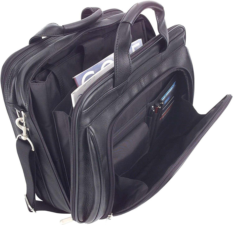 ImpecGear Men's Black Full Grain Leather Briefcase Messenger Shoulder Laptop Bag (Black 2)