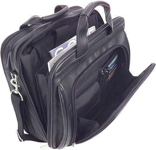 ImpecGear Men s Black Full Grain Leather Briefcase Messenger Shoulder Laptop Bag Black 2