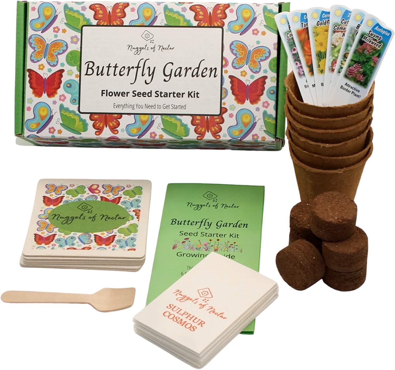 Nuggets of Nectar Butterfly Garden Flower Seed Starter Kit - Grow 6 Types of Wildflower Seeds Including Milkweed, Coreopsis, Cosmos, Echinacea, Gaillardia and Zinnia Seeds