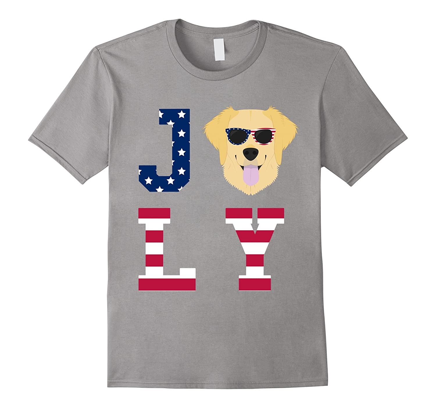 4th of July - Golden Retriever American Flag Dog T-Shirt-Art
