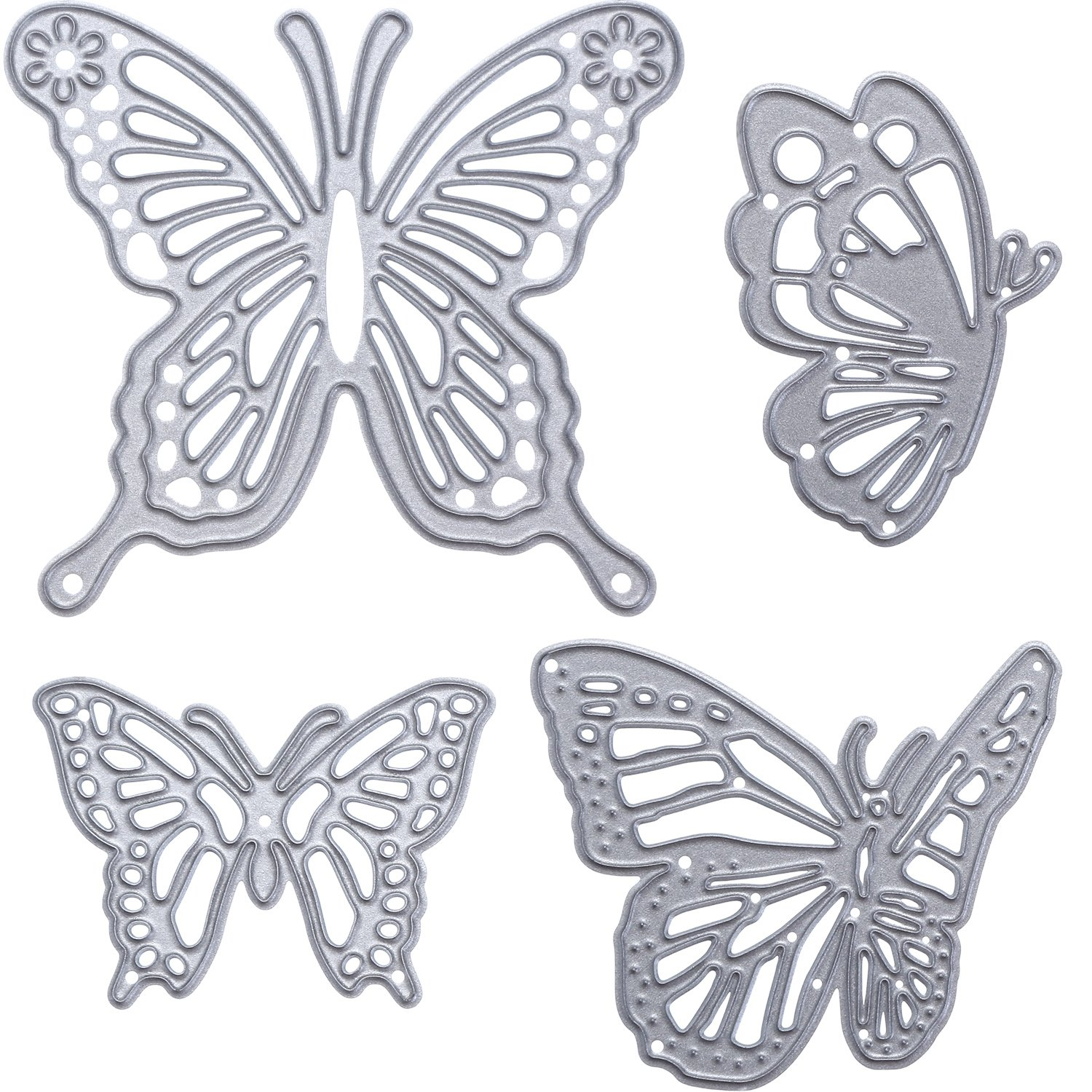 Gejoy 4 Pieces Butterfly Set Cutting Dies Metal Butterfly Die Embossing Stencils for Paper DIY Craft Decoration
