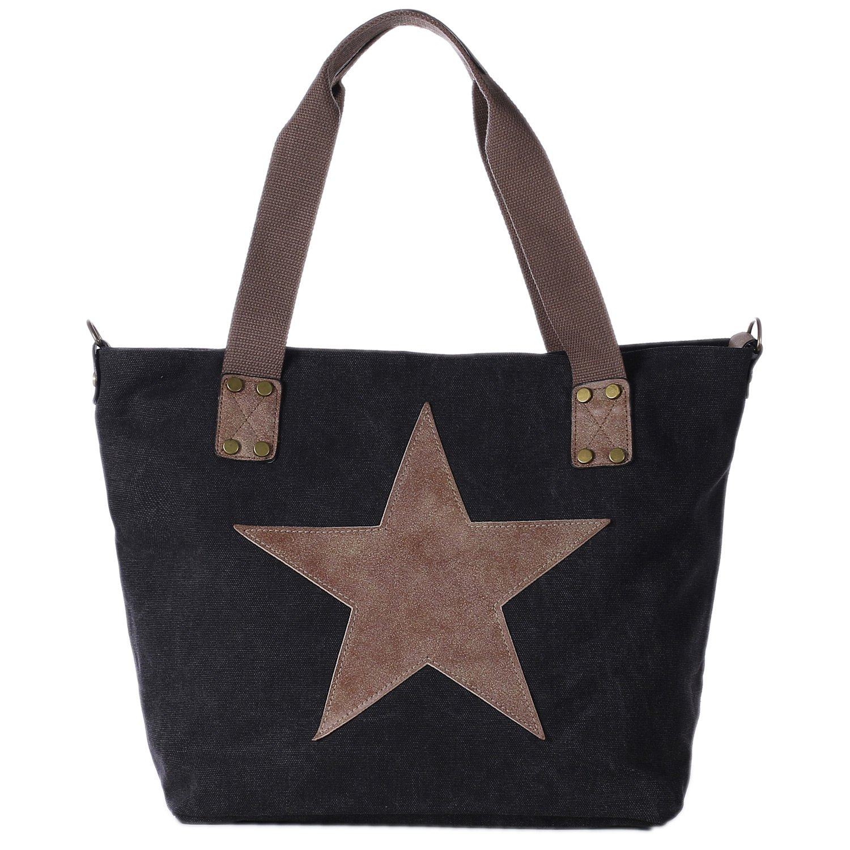 DonDon Canvas bolsa negro con estrella grande shopper bolsa de asa con bandolera y cremallera con look de vintage 43 x 30 x 17 cm RUCK56