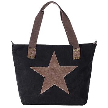 59a87d2df9f3a DonDon Canvas Tasche schwarz mit großem Stern Shopper Henkeltasche mit  Schultergurt und Reißverschluss im Vintage Look