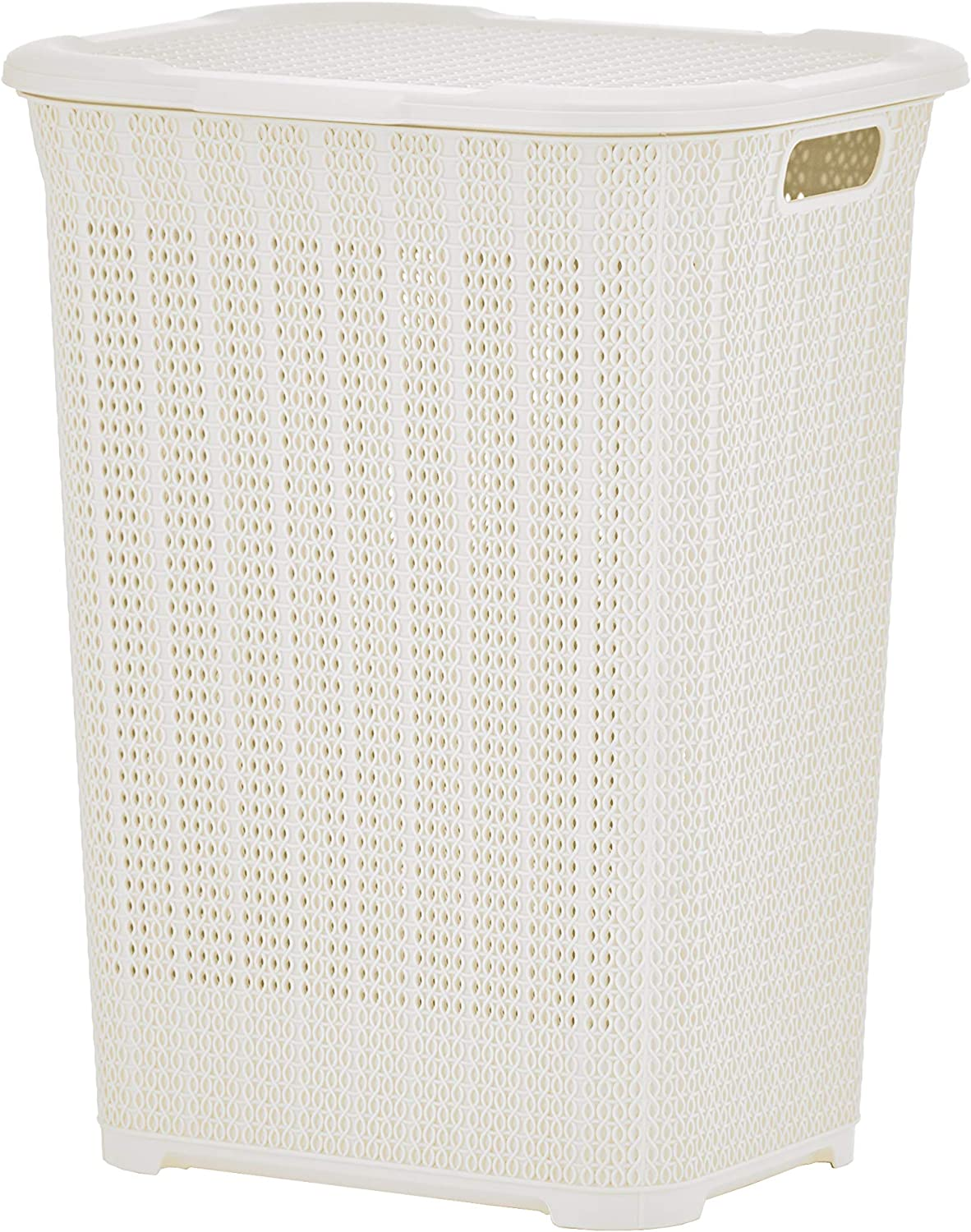 Superio Laundry Hamper Knit Style Basket with Lid 50 Liter - Cream Beige Modern Designed - Laundry Room Hamper Basket with Cutout Handles Large & Tall Shape Bin to Storage Dirty Cloths